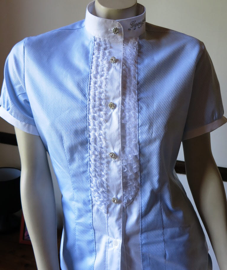 Frills compliment this stretch cotton fitted shirt