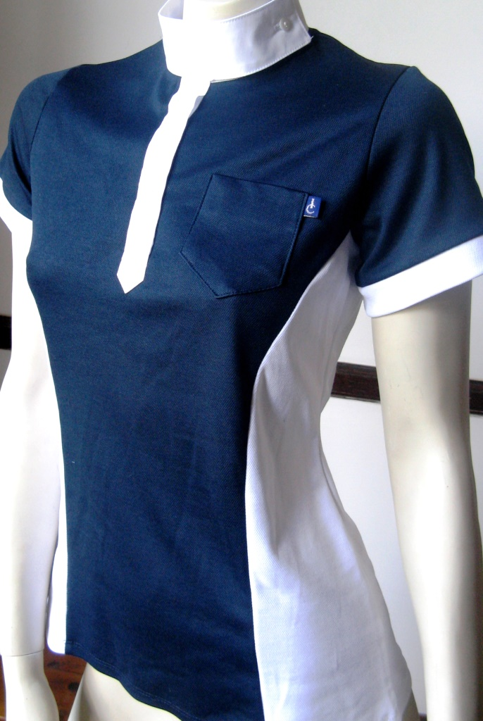 Navy blue and white sports polo shirts with ratcatcher collar